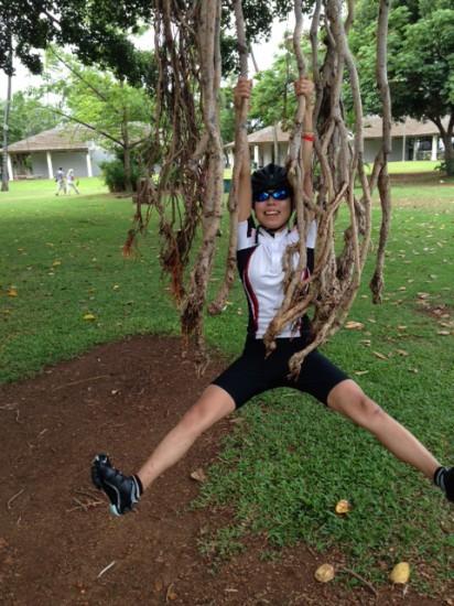 プラクティスライド前にカピオラ二公園の木にぶら下がっている画像